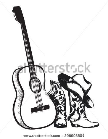 Image Result For Guitar Cowboy Hat Drawing