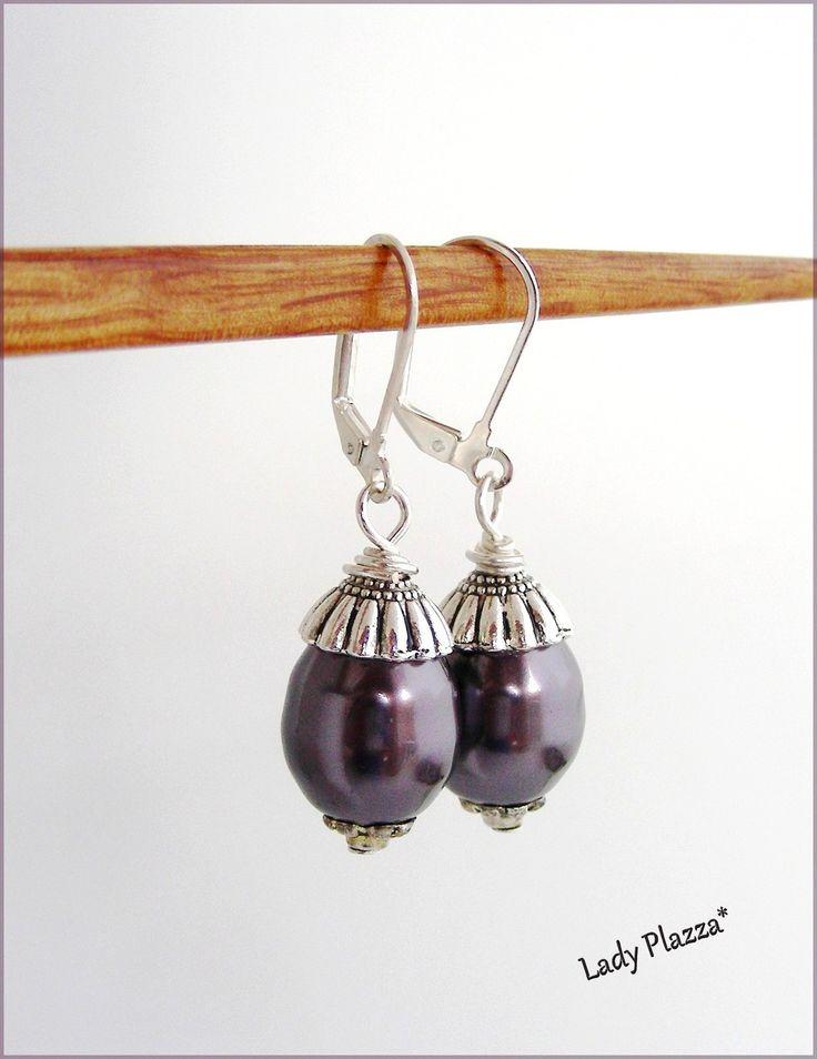 Boucles d'oreilles / Perles de culture Violette/Prune / Argent : Boucles d'oreille par ladyplazza