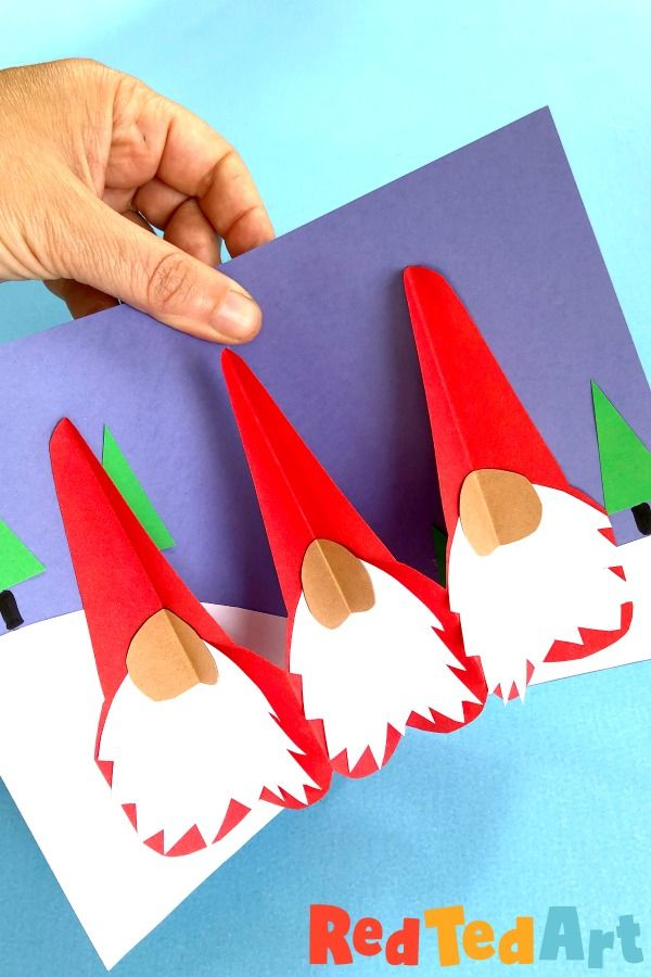 Pop Up Gnome Card Diy For 3d Christmas Fun Red Ted Art Make Crafting With Kids Easy Fun Christmas Cards Kids Diy Pop Up Cards Pop Up Christmas Cards