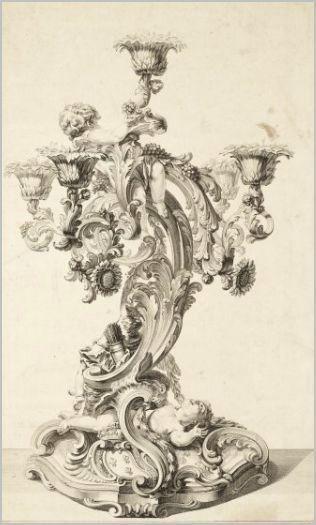 Thomas Germain. Projet de girandole d'or pour le roi Louis XV. Eau forte. 1761. Paris. Musée des Arts décoratifs.