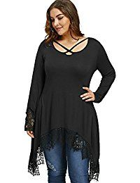 New Langstar Women's Top Plus Size Long Sleeve Lace Trim Sharkbite Hem T-shirt Loose Fit Swing Tunic Blouse for Leggings online. Find the perfect SE MIU Tops-Tees from top store. Sku VCRV35127KSYJ70526