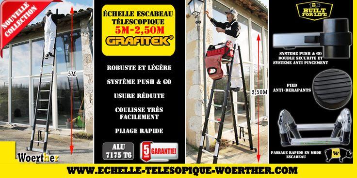 Echelle  télescopique de la gamme Grafitek de Woerther 5M