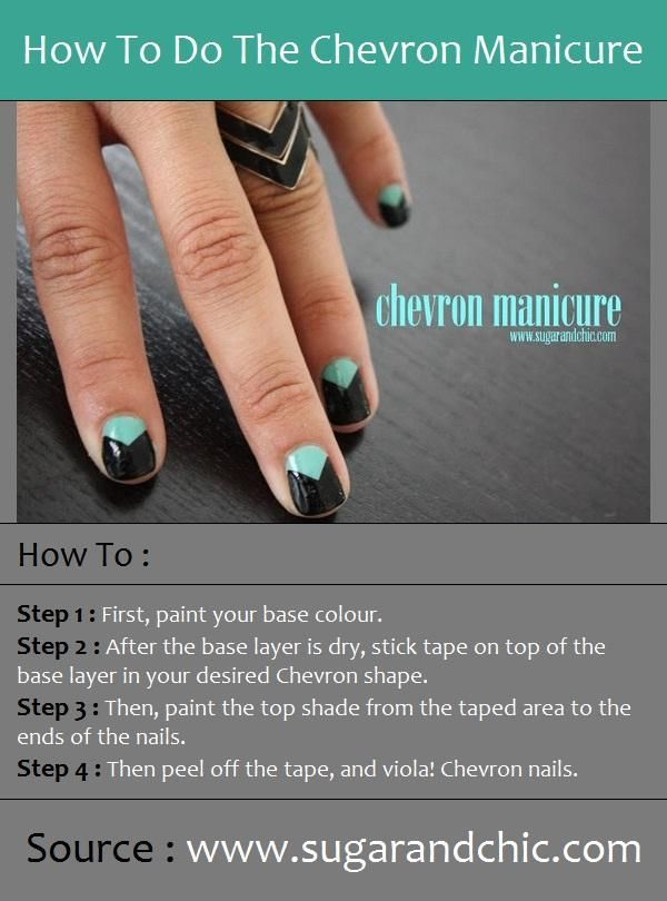 How To Do The Chevron Manicure - Hairstyles and Beauty Tips