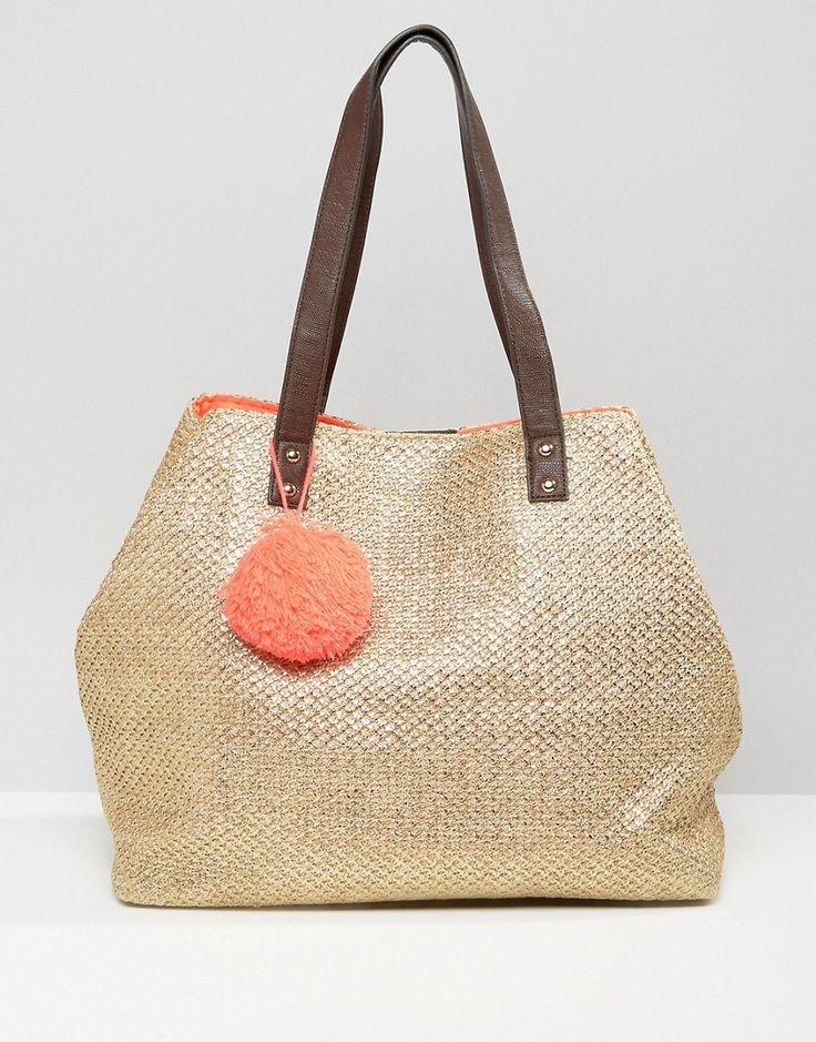 New Look Metallic Straw Pompom Tote Bag
