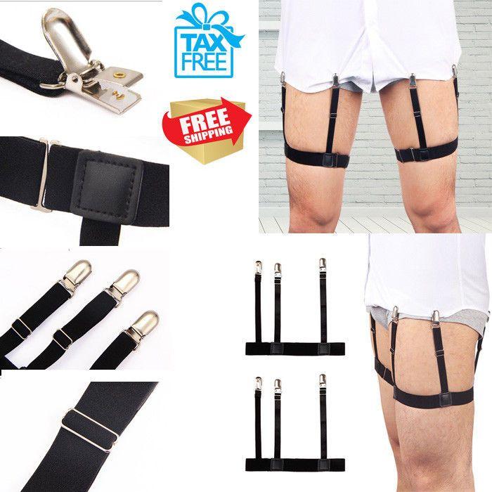 1 Pair Mens Leg Suspender Keep Dress Shirt Stays Tucked in with Non-slip Locking