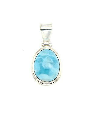 Blue Larimar Oval Cabochon Stone In .925 Sterling Silver Setting Pendant