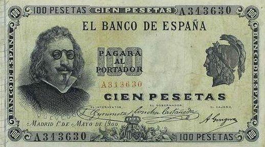 Galería de escritores inmortalizados en billetes de pesetas.                                                                                                                                                                                 Más