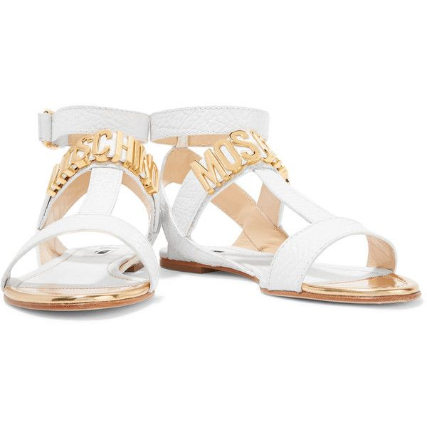 Moschino - Embellished Textured-leather Sandals ($238) ❤ liked on Polyvore featuring shoes, sandals, white strappy sandals, almond toe shoes, white sandals, strap sandals and decorating shoes