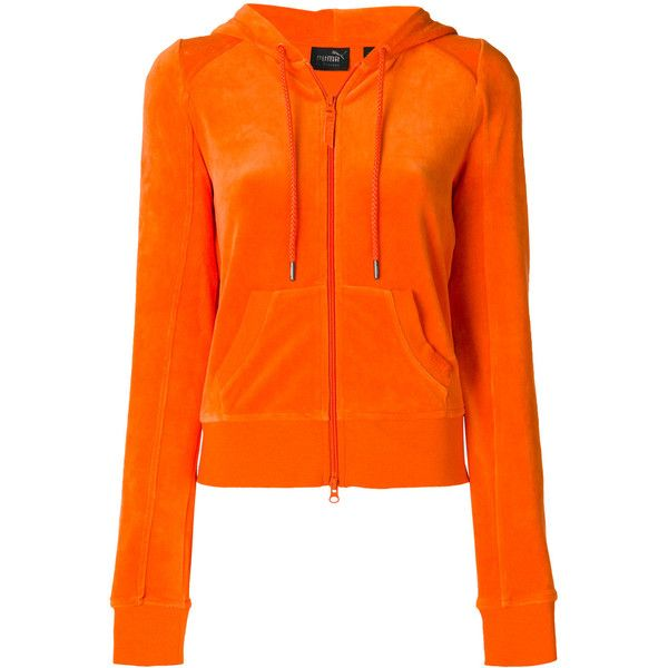 Fenty X Puma zipped sweatshirt ($192) ❤ liked on Polyvore featuring tops, hoodies, sweatshirts, orange, orange sweatshirt, orange top, zip sweatshirt, zipper sweatshirt and zipper top