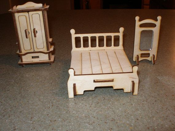Bedroom miniature full size bed wardrobe and by MLSLaserEngraving