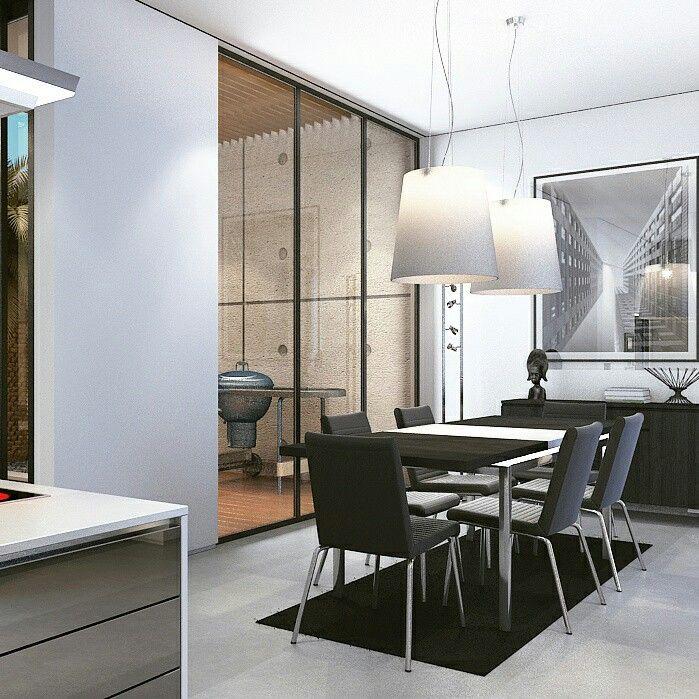 Dining kitchen minimalist modern.