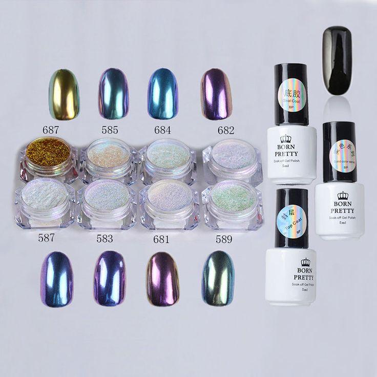 12pcs/set Nail Art Chameleon Mirror Glitter Powder Chrome Pigment Black UV Gel #ad