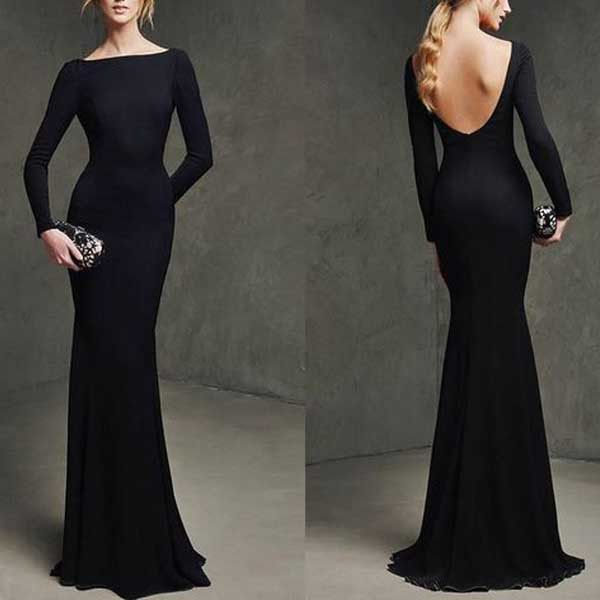 Long Sleeves Mermaid Black Simple Long Bridesmaid Dresses, PM0211 The dress is fully lined, 4 bones in the bodice, chest pad in the bust, lace up back or zipper back are all available. This dress coul