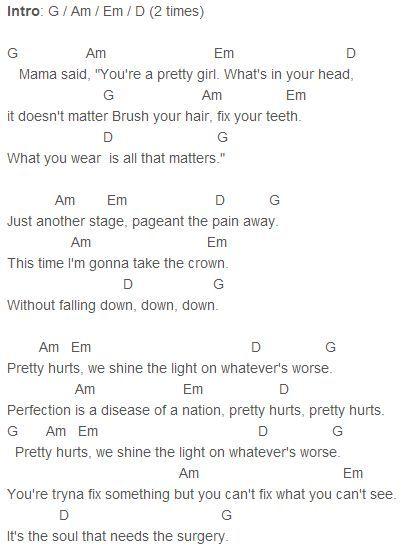 Beyonce - Pretty Hurts Chords Capo 4 : Beyoncu00e9 : Pinterest : Discover more ideas about Pretty ...
