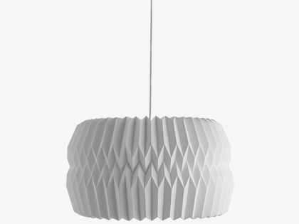 Kura extra large white paper ceiling light shade has been made using simple paper folding techniques resulting in a contemporary origami design