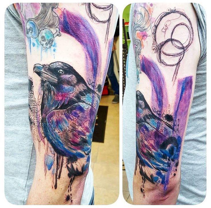 joanne baker milkytatoodle watercolor raven tattoo the