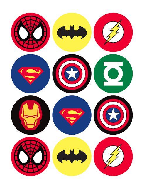 free printable superhero cupcake toppers