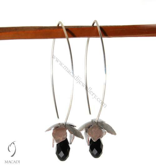Oxidized Lotus Earrings with Swarovski