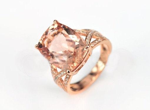 Engagement Ring - 3.5 Carat Morganite Ring With Diamonds In 14K Rose Gold....: 14K Rose, Band Diamonds, Gorgeous Rings, Gems Stones, Black Diamonds Engagement, Morganite Rings, Carat Morganite, Diamonds Engagement Rings, Rose Gold