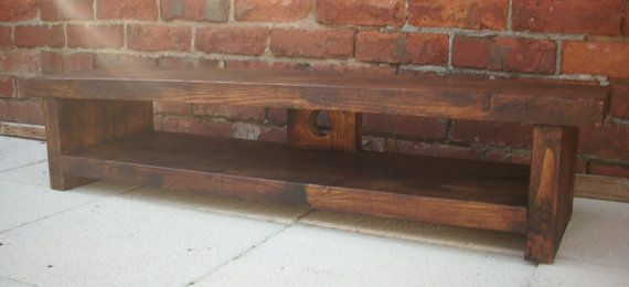 Very low rustic pine plasma lcd low tv by Redcottagefurniture