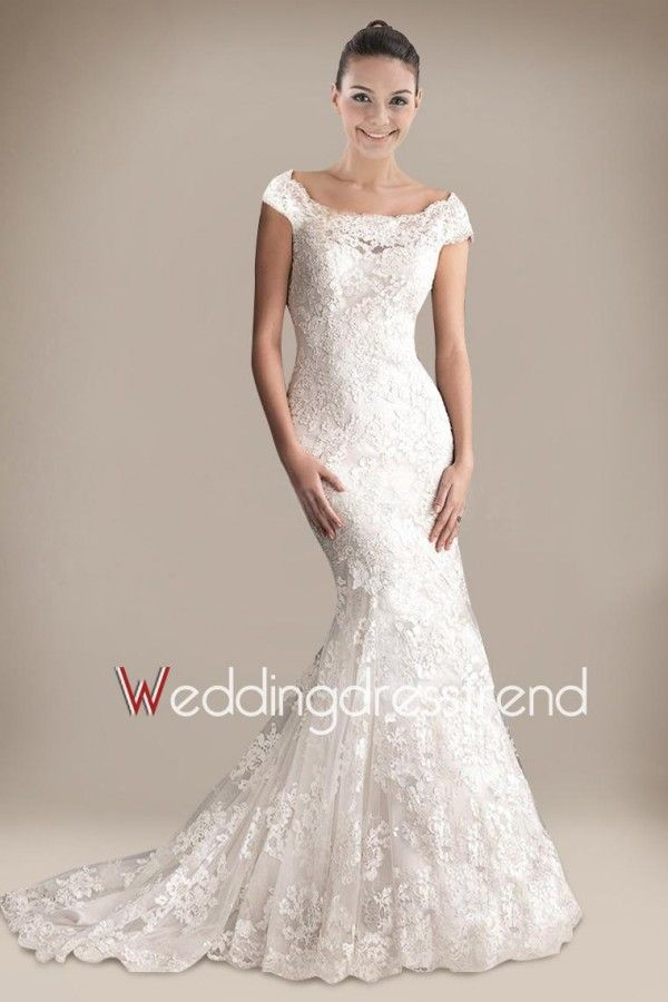 Best Retro Trumpet/Mermaid Ruched Appliqued Lace Wedding Dress - Shop Online for Cheap Wedding Dresses