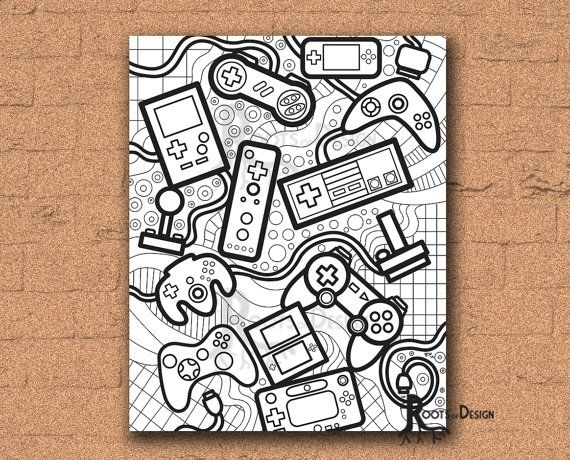 INSTANT DOWNLOAD Coloring Page - Video Game Controllers zentangle inspired, doodle art, gamer printable