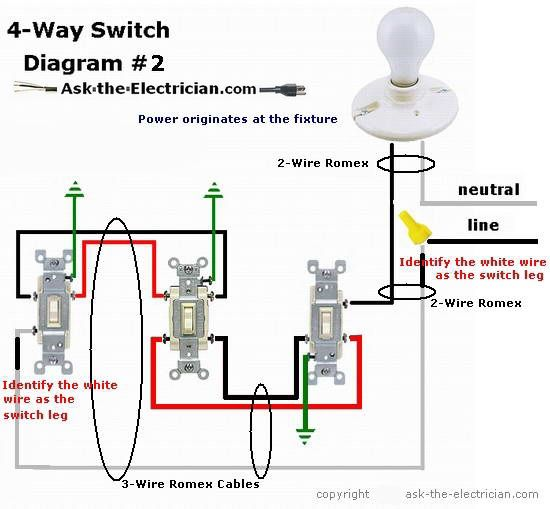 on 3 way and 4 switch wiring diagram
