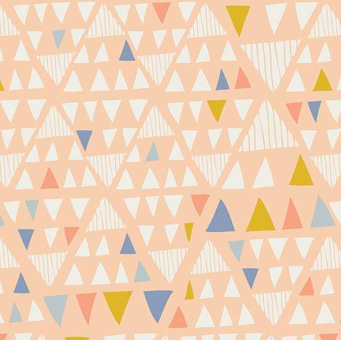 #Tela melocotón con triángulos pequeños diseño de Leah Duncan #comprar #telas #fabrics #patchwork