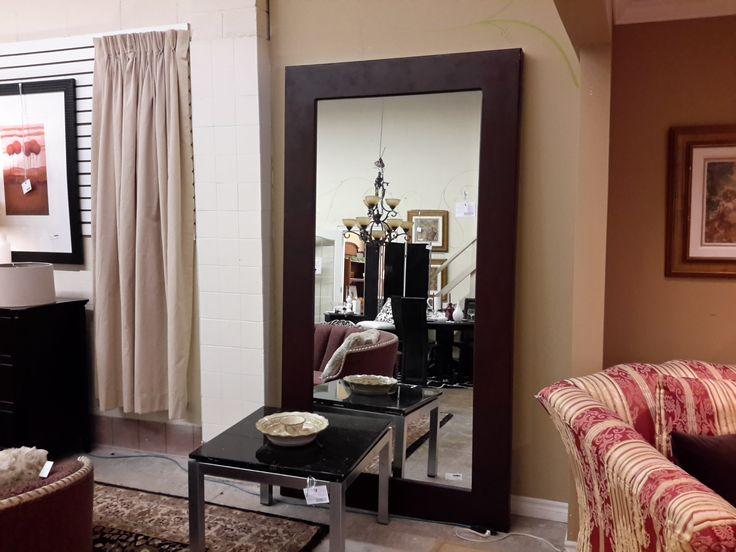 Large brown floor mirror