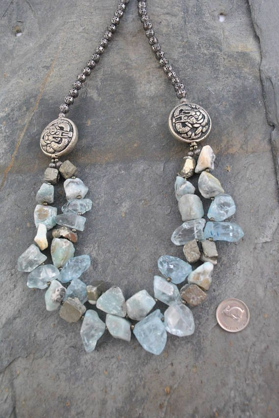Nepalese Repousse Silver Dragon Bead With Amazonite & Pyrite Double Strand Artisan Necklace #double #doublestrand #tribal #tribalstyle #boho #bohemian #nepalese #repousse #dragon #dragonbeads #silver #amazonite #pyrite #chunky #chunkynuggets #nuggets #aquamarine #glass #aquamarineglass #artisan #necklace #artisannecklace #oneofakind #handmade #unique #statement #soft #blue #gray #grey #bluegray