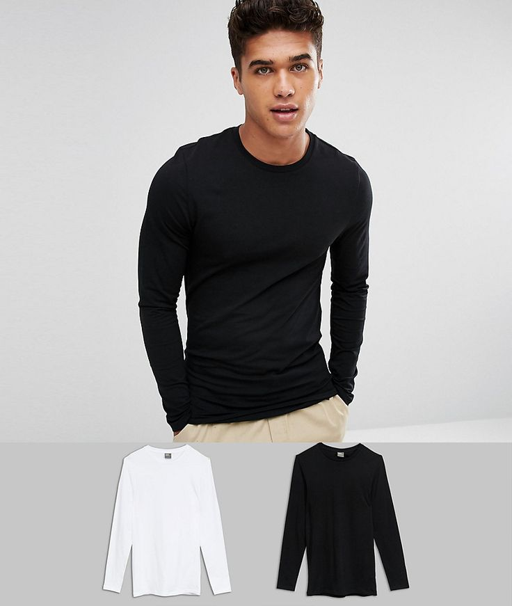 ASOS Longline Long Sleeve T-Shirt With Crew Neck In Muscle Fit 2 Pack