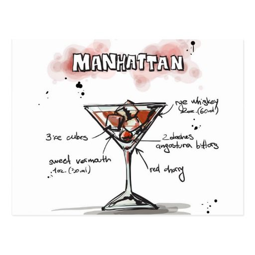 Manhattan Drink Recipe Design Postcard
