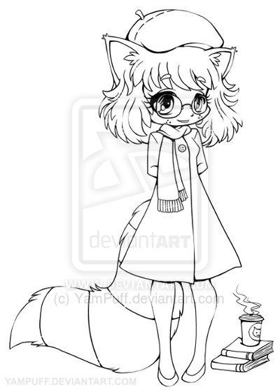 Anime Raccoon Girl Raccoon Girl Chibi Lineart By Yampuff