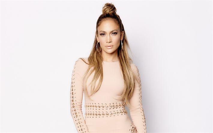 Download wallpapers Jennifer Lopez, portrait, beige dress, photoshoot, American singer, make-up
