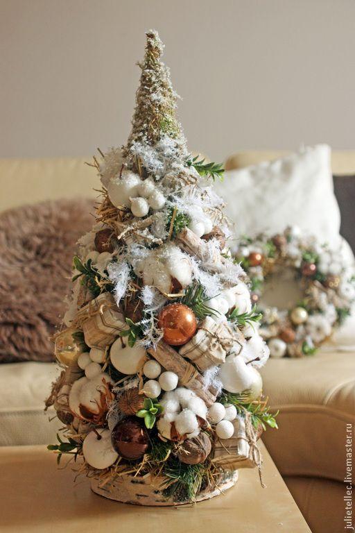 Купить Елочка. Бежевая. - бежевый, настольная елка, новцй год, подарок, рождество, украшение дома