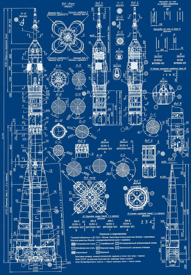 lucienballard:  Blueprint of a Russian Soyuz rocket. via   The Khool.
