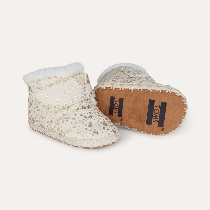 Gold Foil Snow Spots TOMS Cuna Layette Boot