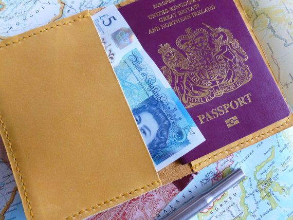 £30.50 A leather passport cover in a stunning golden yellow: ideal for keeping you passport, or slim pocket journal / notebook safe and stylish.  https://www.etsy.com/uk/listing/480027516/leather-passport-cover-golden-yellow?ref=shop_home_active_14 Leather Passport Cover: Golden Yellow, fits a Small Pocket Journal or Notebook, Holiday, Honeymoon Gifts, Travel Wallet, Gift for Him, gift for her.