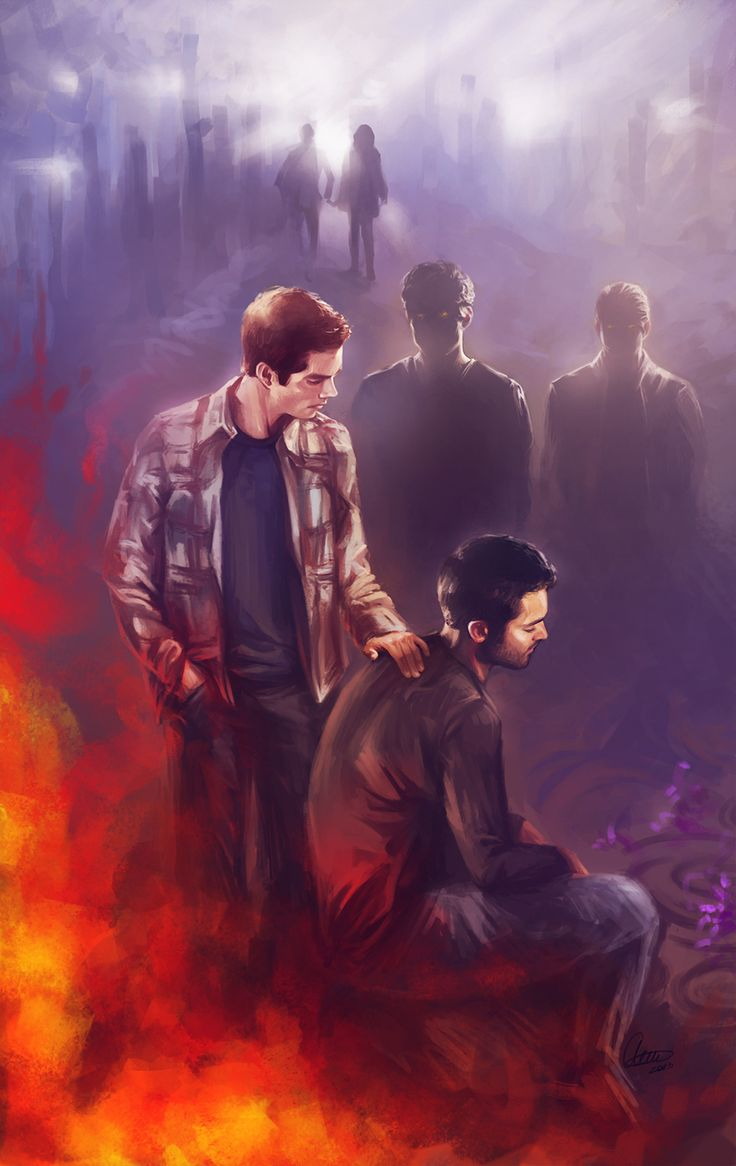 """This might hurt… To bear so much burden inside... Sometimes you have to let go... just to stay alive..."" Derek and Stiles by syllirium"