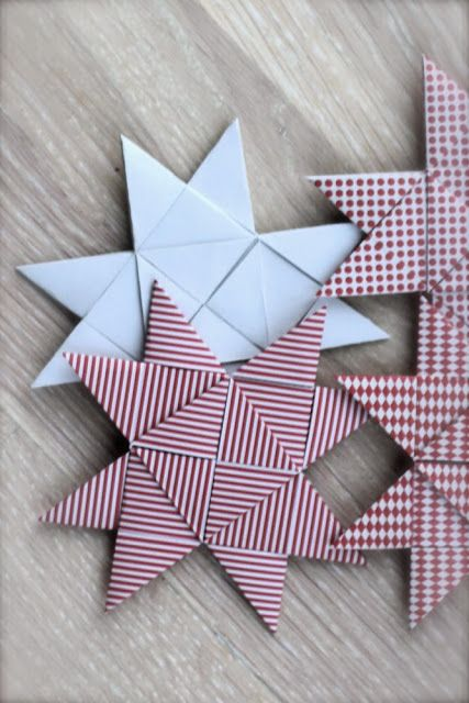 photo tutorial ... woven paper star ornament ... flat form of German Star ornament ...