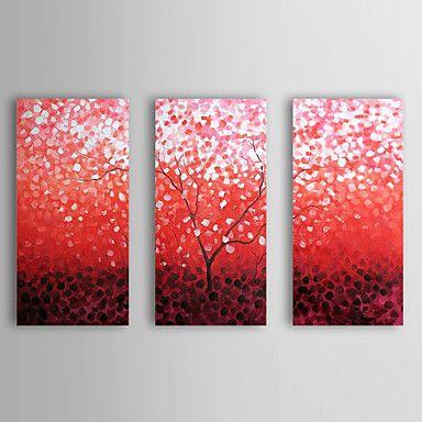 現代アートなモダン キャンバスアート 絵 壁 壁掛け 油絵の特大抽象画3枚で1セット レッド 花柄 植物 桜の花 赤いさくら【納期】お取り寄せ2~3週間前後で発送予定【送料無料】ポイント