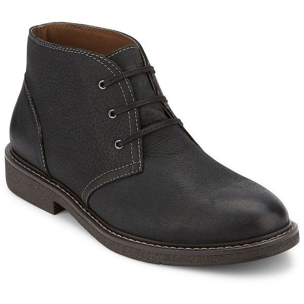 Dockers Tulane Men's Chukka Boots (265 BRL) ❤ liked on Polyvore featuring men's fashion, men's shoes, men's boots, black, mens round toe shoes, mens fur lined shoes, dockers mens boots, mens fur lined boots and mens black boots
