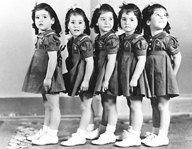 """The Dionne Quintuplets born in 1934 are the first quintuplets known to survive infancy. It is believed they were all identical.   Born to a poor family in Canada the government took custody and raised them in """"Quintland"""" which became a popular tourist attraction.  They later said """"Our lives have been ruined by the exploitation we suffered at the hands of the government of Ontario, our place of birth. We were displayed as a curiosity three times a day for millions of tourists."""""""
