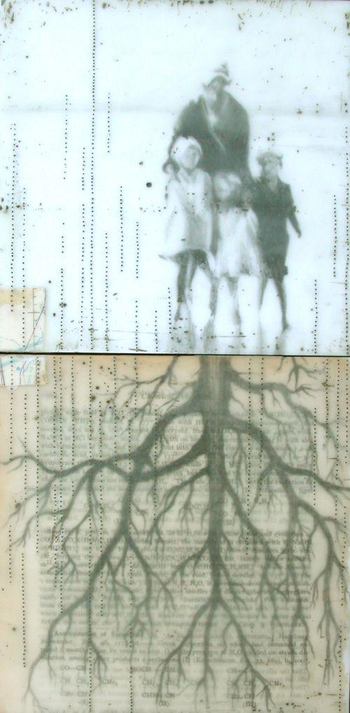 Subterranean, 2009, encaustic mixed media on panel,