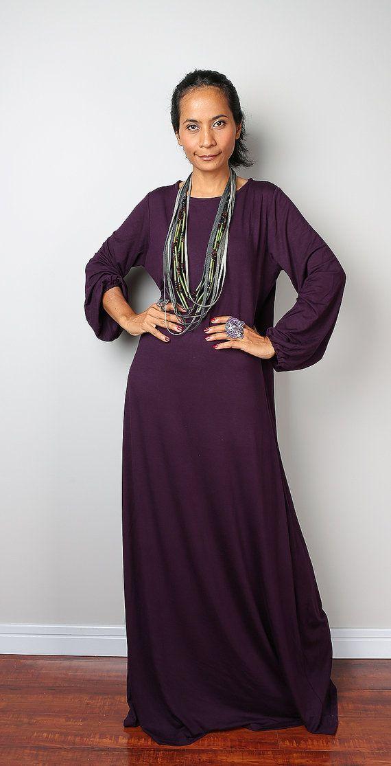 Purple Maxi Dress / Long Sleeved Dark Purple Dress  : by Nuichan
