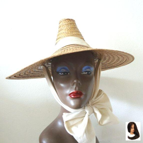 50er Jahre breiter Rand Strohhut Vintage asiatischen Stil Sonnenhut mit Schleife – straw-hats