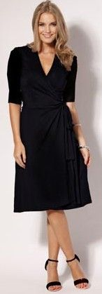 Elbow Sleeve Wrap Dress