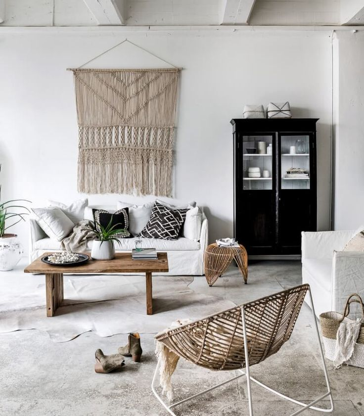 Neutral decor and a large macrame