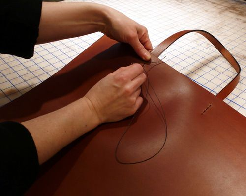 Sara Barner shows us the serious (and tough!) business of bag-making
