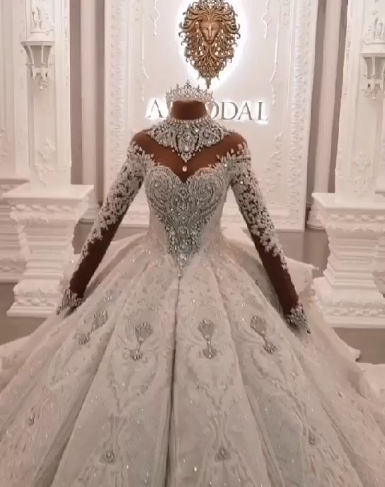 Ball Gown High-neck Luxury Train Long Sleeves Sparkle Applique Satin Wedding Dresses